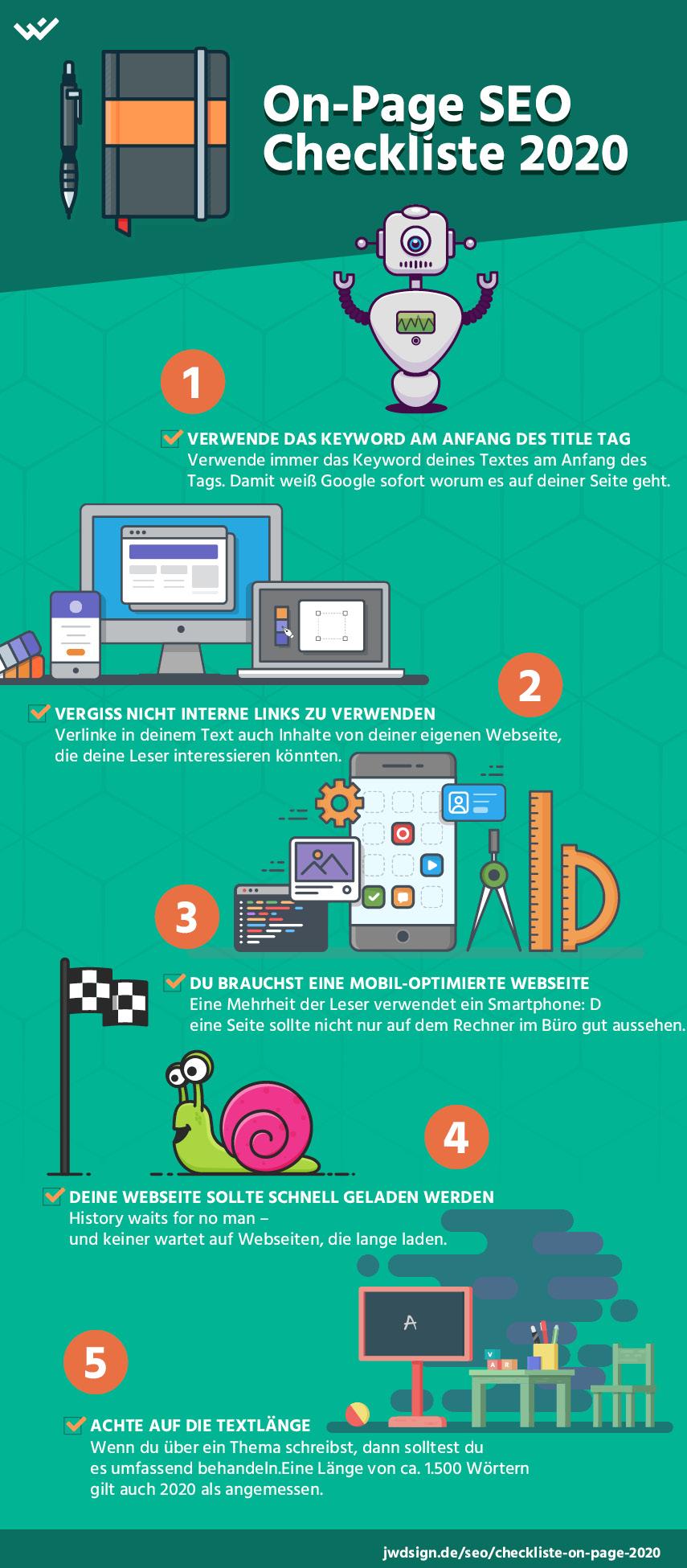 SEO Checkliste: Die Top-5 der Onpage Rankingfaktoren als praktische Infografik.